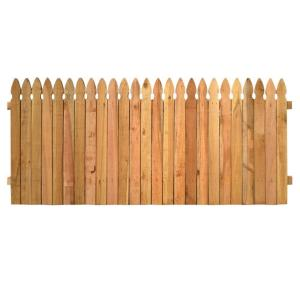 Outdoor Essentials 3 1 2 Ft X 8 Ft Western Red Cedar Privacy French Gothic Fence Panel Kit 245321 The Home Depot Fence Panels Cedar Wood Fence Wood Fence