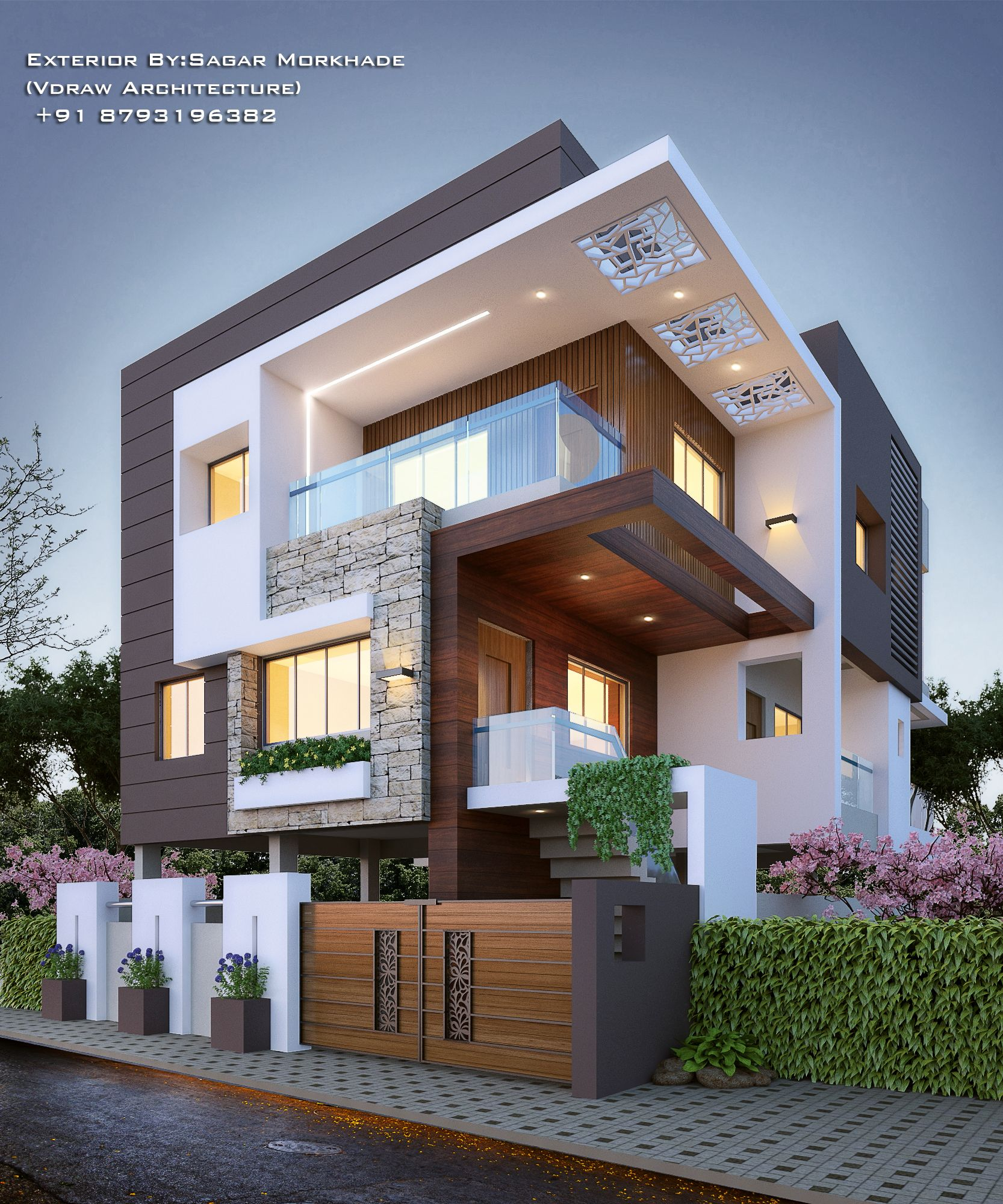 30 Contemporary Home Exterior Design Ideas: #Modern #Residential #Exterior By, Sagar Morkhade (Vdraw