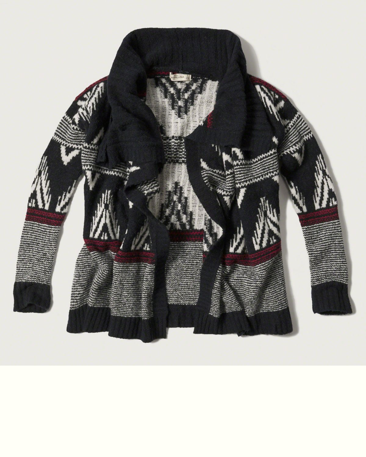 Womens Patterned Non Closure Cardigan | Womens Sweaters ...