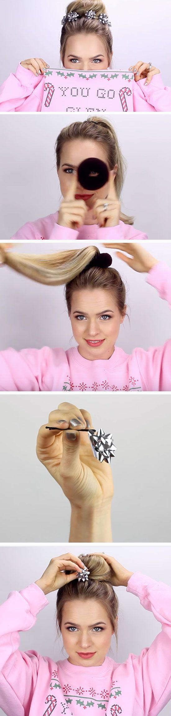Christmas bow bun diy holiday hairstyles for medium hair