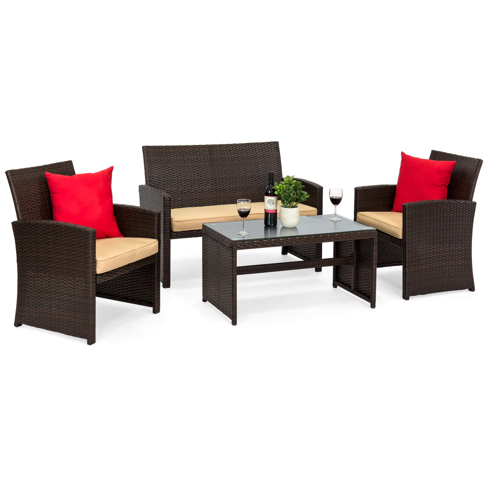 Outdoor Wicker Patio Furniture Table Chair Set 4 Pc Cost Wa