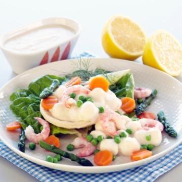 Oppskrift på Terteskjell med fiskepudding i hvit saus