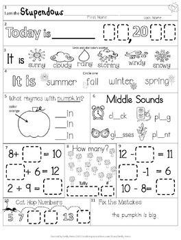 Morning Work: First Grade November Packet (Fall
