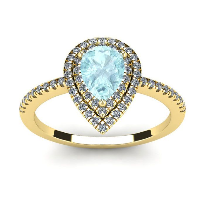Diamantringe 1 karat  1 Carat Pear Shape Aquamarine and Double Halo Diamond Ring In 14 ...