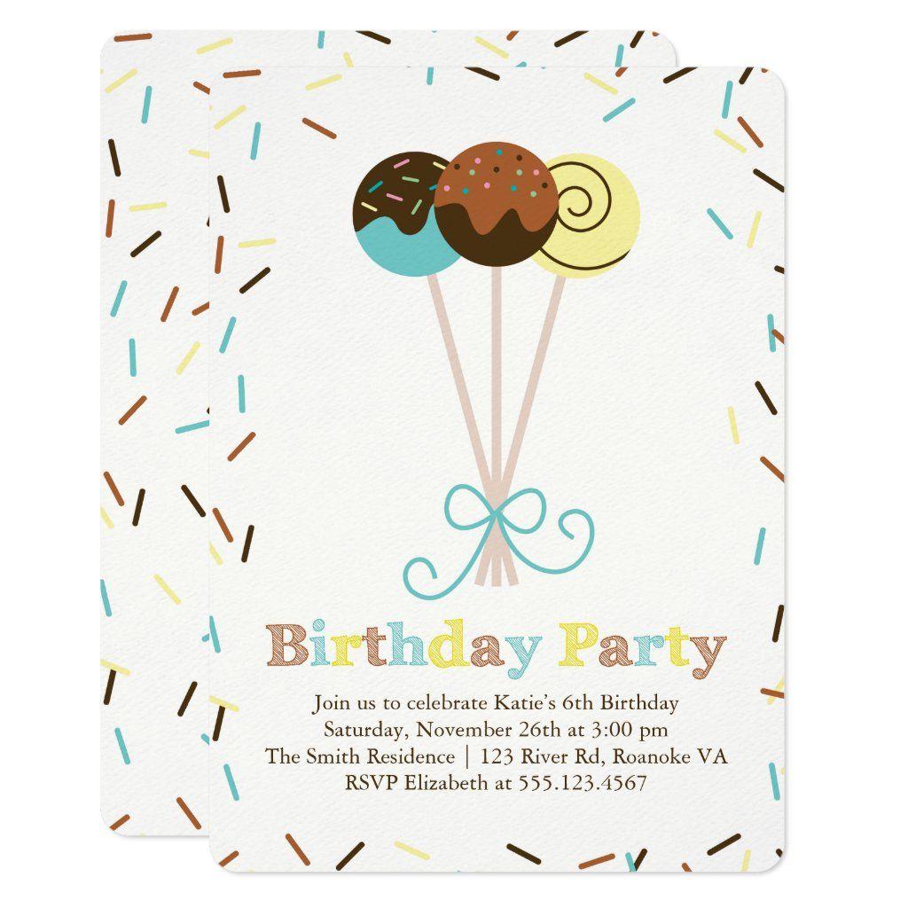Cake Pops and Sprinkles Birthday Card