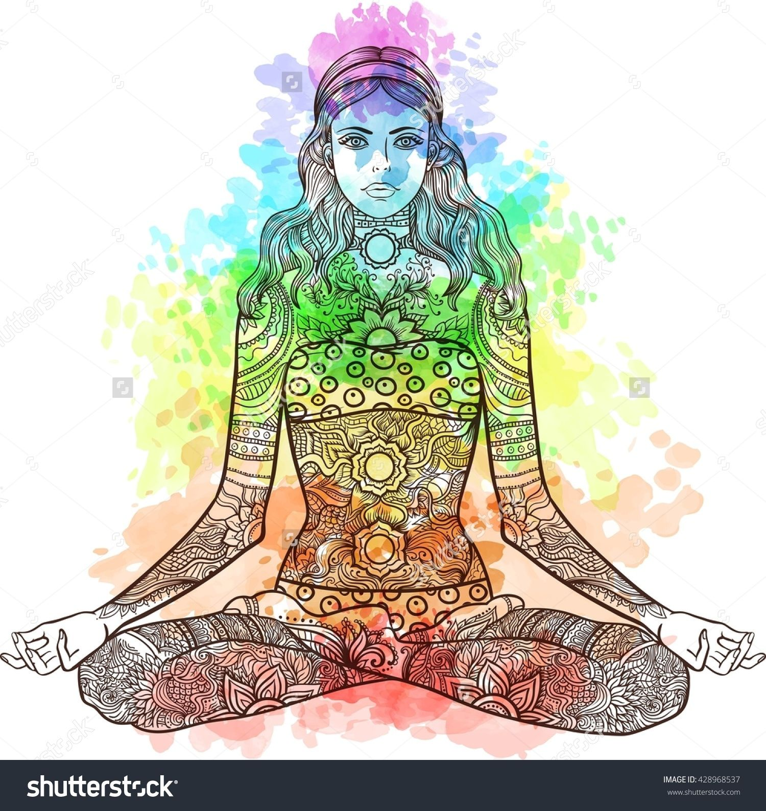 d50d26005aaae Woman Sitting In Yoga Lotus Pose With Tattoo Mehendi Zentangle Ornamental  Vintage Pattern. Meditation, Aura And Chakras. Vector Illustration.