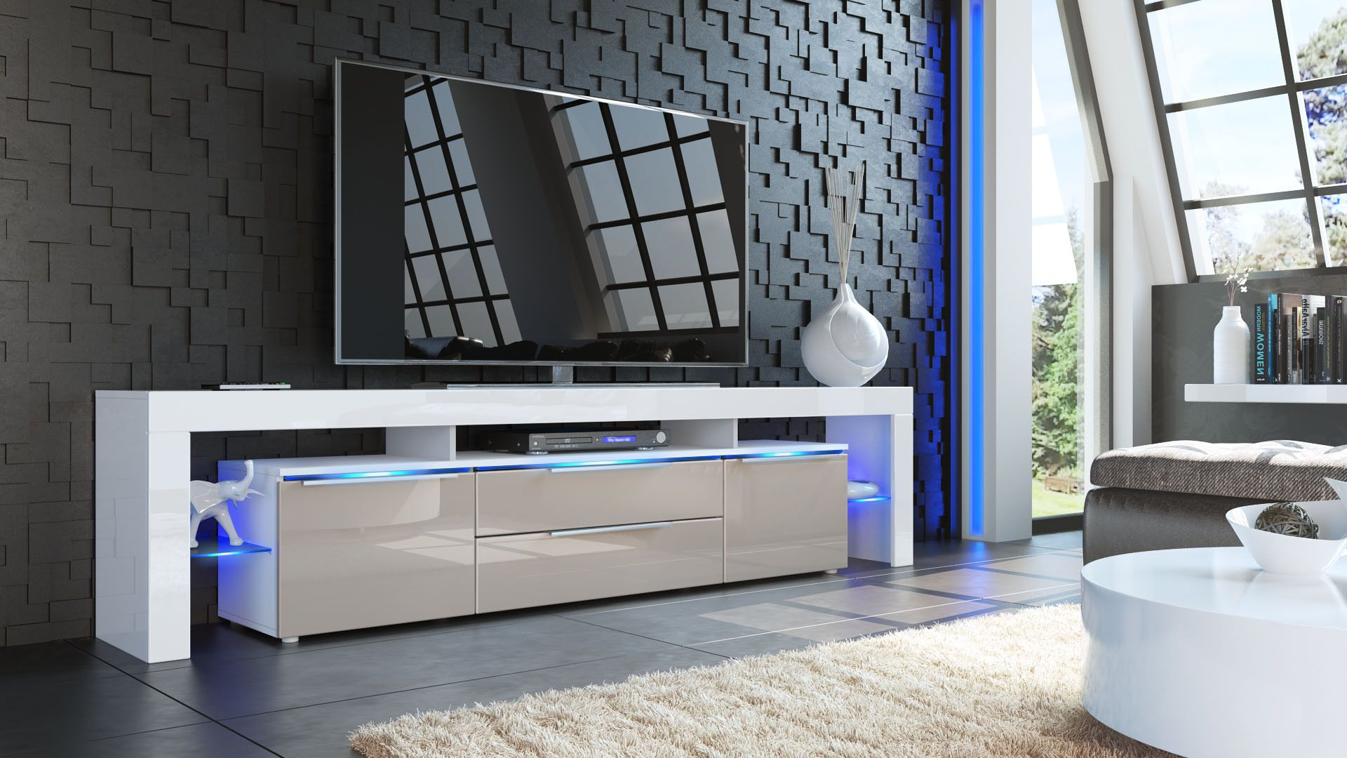 Tv Stand Lima Nova V2  White High Gloss Various