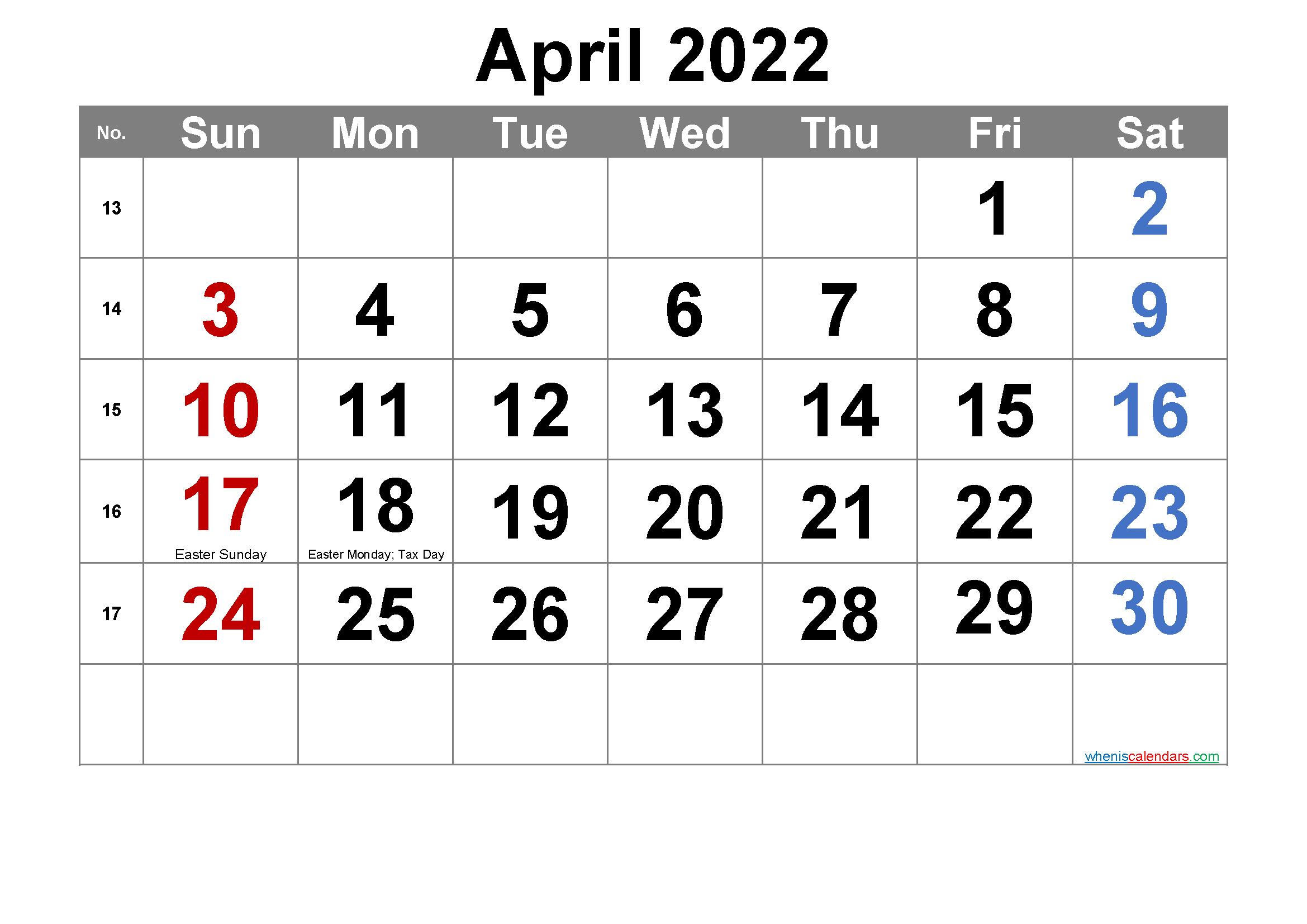 Free Printable April 2022 Calendar Pdf And Png Printable Calendar Template Calendar Printables Monthly Calendar Printable