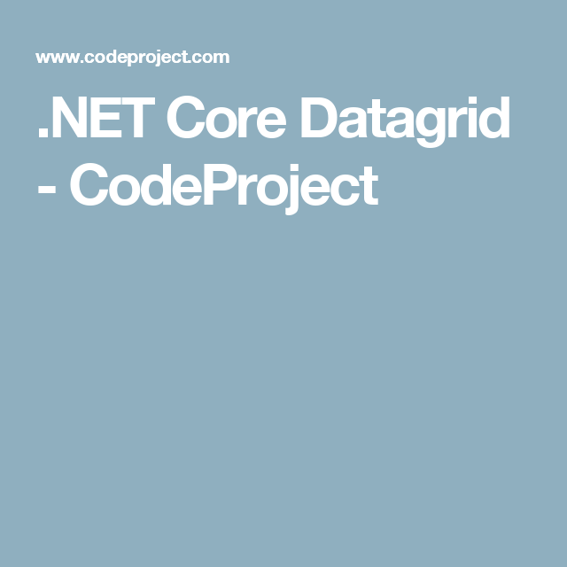 Net Core Datagrid