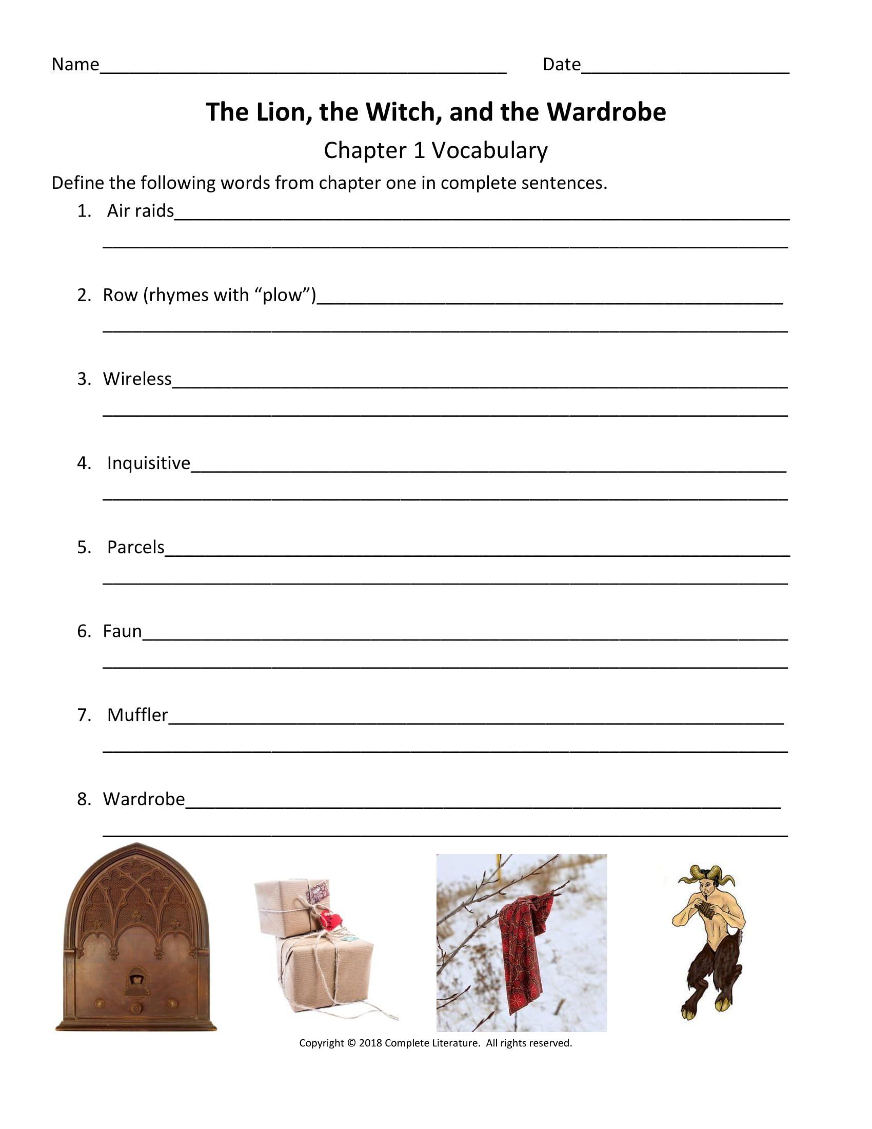 Narnia Vocabulary Worksheet