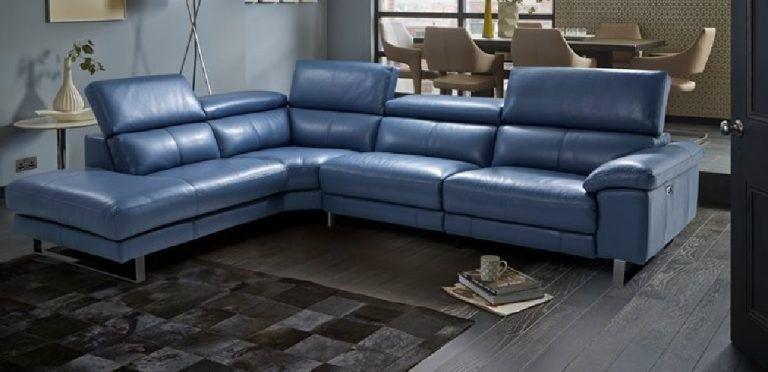 Dfs Corner Sofa L Form Blue Leather, L Shape Sofas Dfs