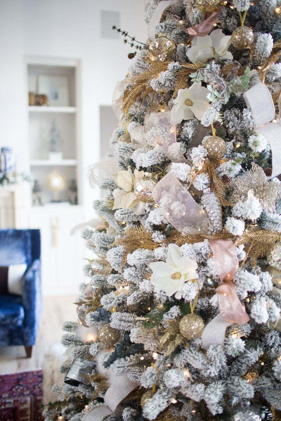 10 Tips for Budget Christmas Decorating | Flocked christmas trees ...