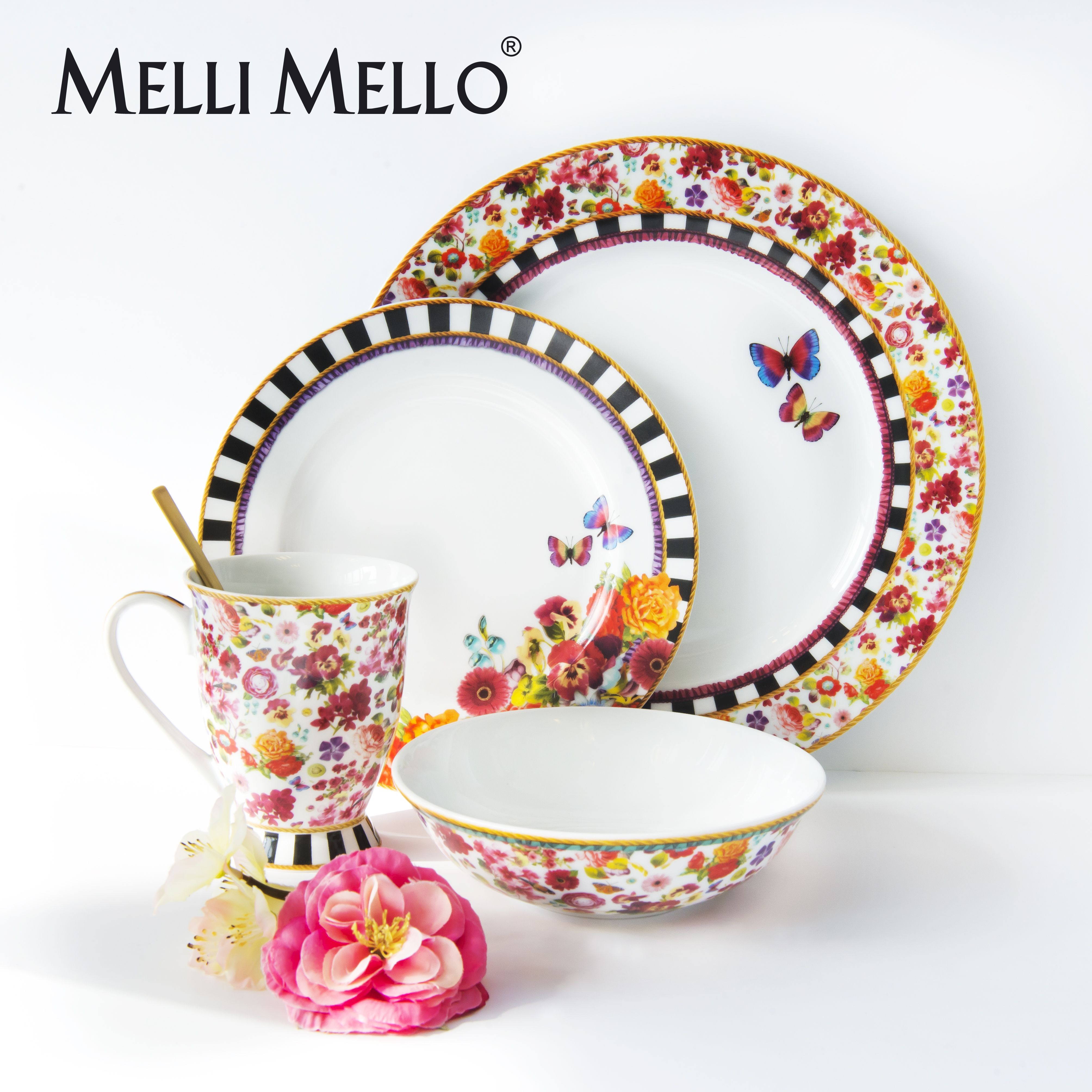lenox dinnerware melli mello isabelle floral u0026 eliza stripe porcelain collections available exclusively at - Lenox Dinnerware