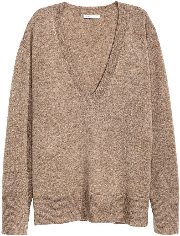 H&M - V-neck Cashmere Sweater - Dark beige melange - Ladies | Fall ...
