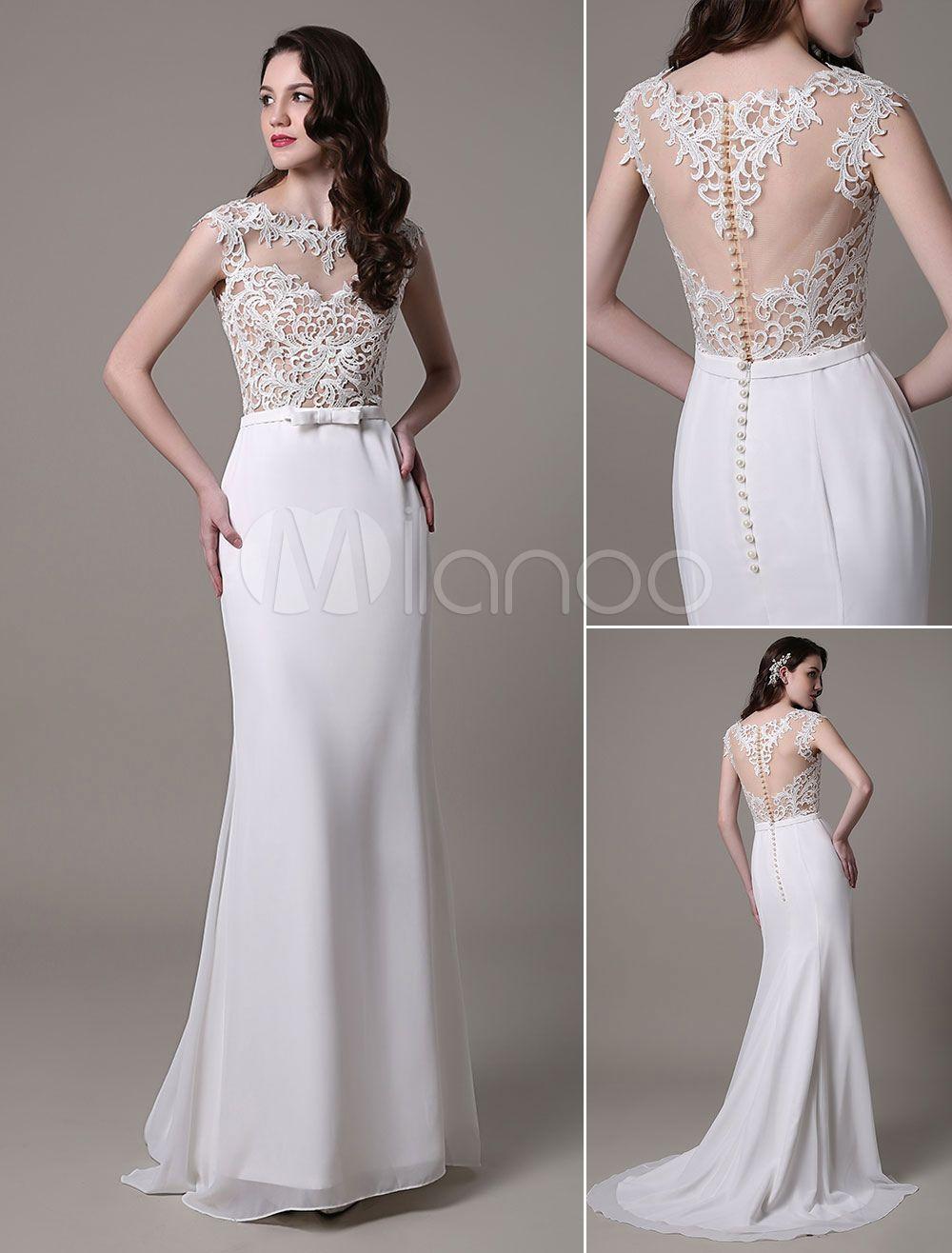 vestido de novia de encaje con escote transparente y lazo vestidos de novia de encaje novia. Black Bedroom Furniture Sets. Home Design Ideas