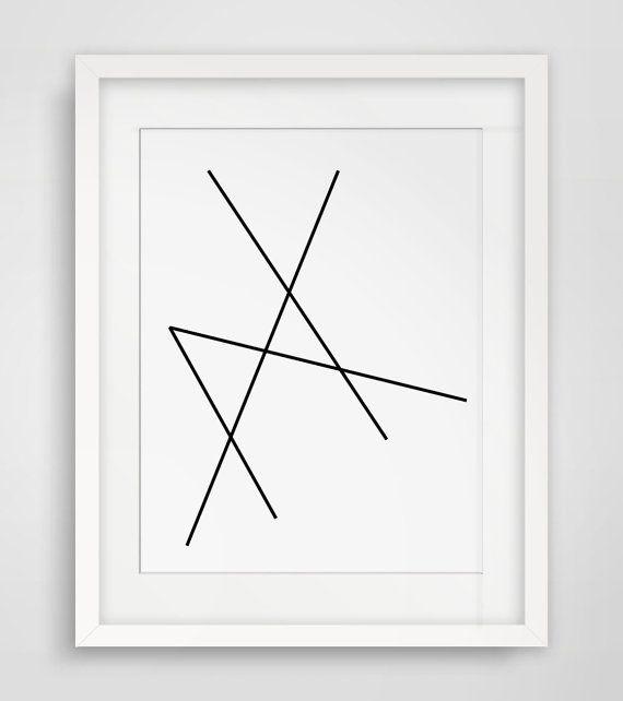 Geometric Art Minimalist Black And White Abstract Print Line Artwork