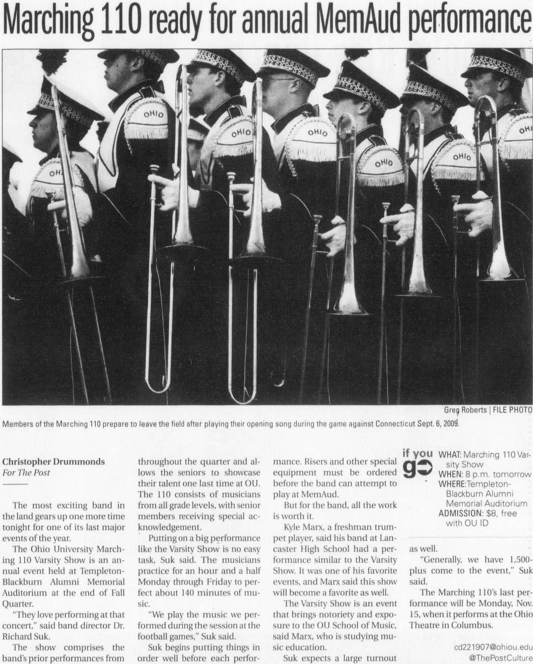"Post (Athens, Ohio) November 5, 2010. ""Marching 110 Ready"