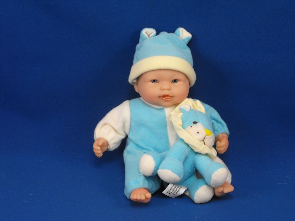 New product 'Berenguer Babies Small Doll Happy Face Tongue Showing with Lion Toy' added to Dirty Butter Plush Animal Shoppe! - $20.00 - Berenguer Babies 8 inch Doll - Hard Vinyl Head, Hands, Feet - Cloth Body - Brown Molded Hair - Blue Eyes - Happy Face Op…