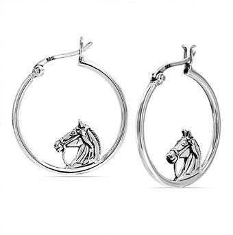 Bling Jewelry 925 Sterling Silver Equestrian Horse Head Hoop Earrings