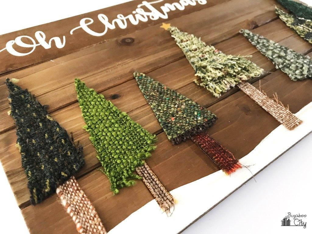 Tutorial: Scrap fabric Christmas tree sign #scrapfabric