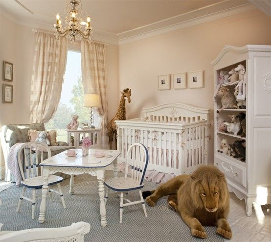 Baby Nursery Ideas With Giant Stuffed Giraffe And Bookcase Storage For Toys