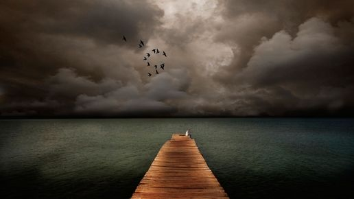 Dock storm clouds