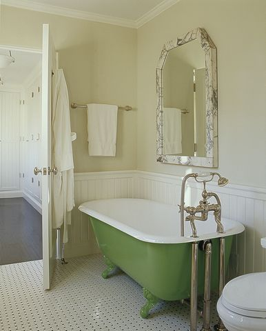 lovely vintage kitchen design with green claw foot tub chair rail and beadboard and butter - Clawfoot Tub Bathroom Designs