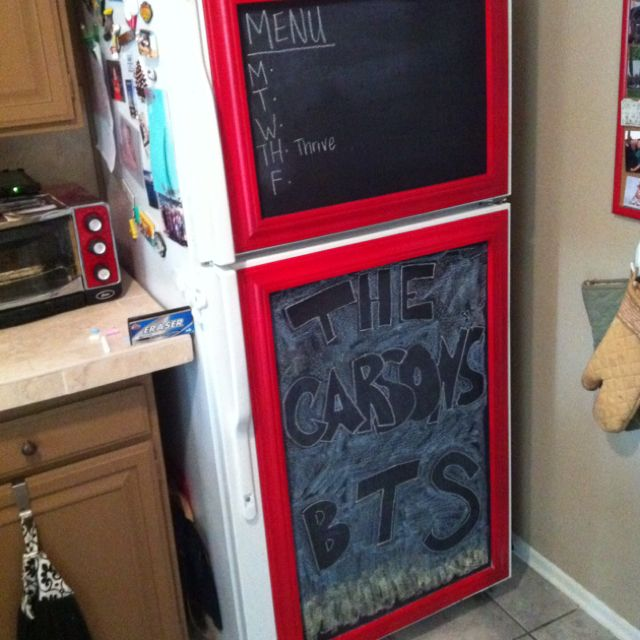 Chalkboard Fridge + trim. Or possibly paint outline of rounded vintage fridge with chalkboard paint?