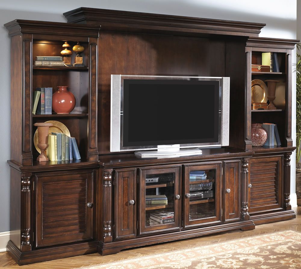 how to decorate a dark wood wall unit - Google Search ...