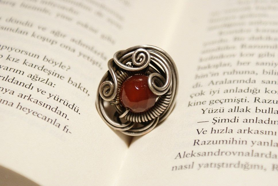 birthday stone-ring-agate ring-energy-reiki- wire jewelry- wire ...