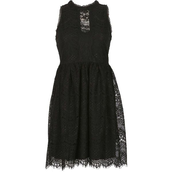 Blue Vanilla High Neck Victorian Lace Dress ($44) ❤ liked on Polyvore featuring dresses, black, women, evening cocktail dresses, evening dresses, fit and flare dress, lace fit-and-flare dresses and lace evening dresses