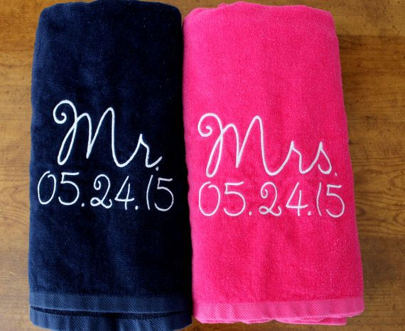 Mr Mrs Beach Towel Gift Set Navy Blue And Pink Towel Perfect