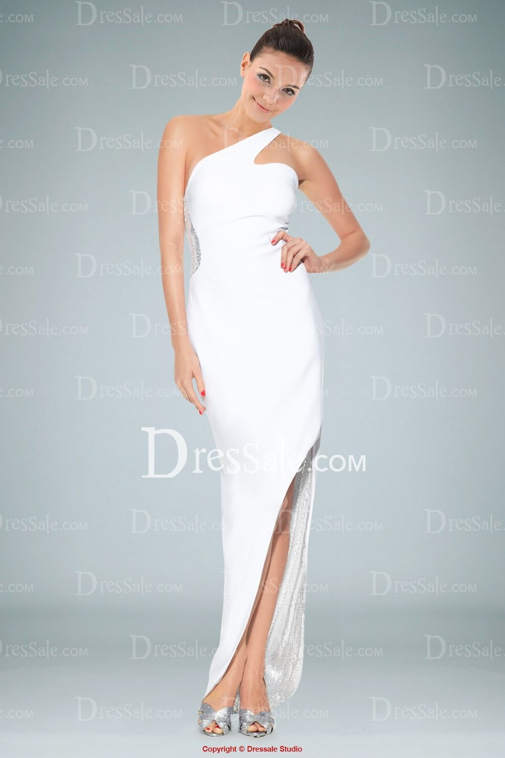 Romantic White One Shoulder Evening Dress with Sequin Bodice Back http://www.dressale.com/romantic-white-one-shoulder-evening-dress-with-sequin-bodice-back-p-68458.html