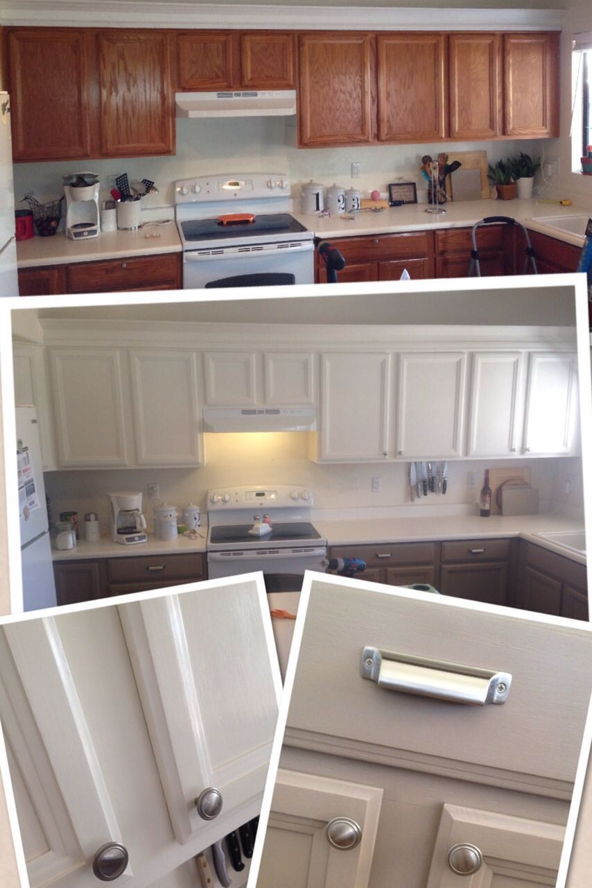 Kitchen cabinets redone by adding new crown molding repainting and ...
