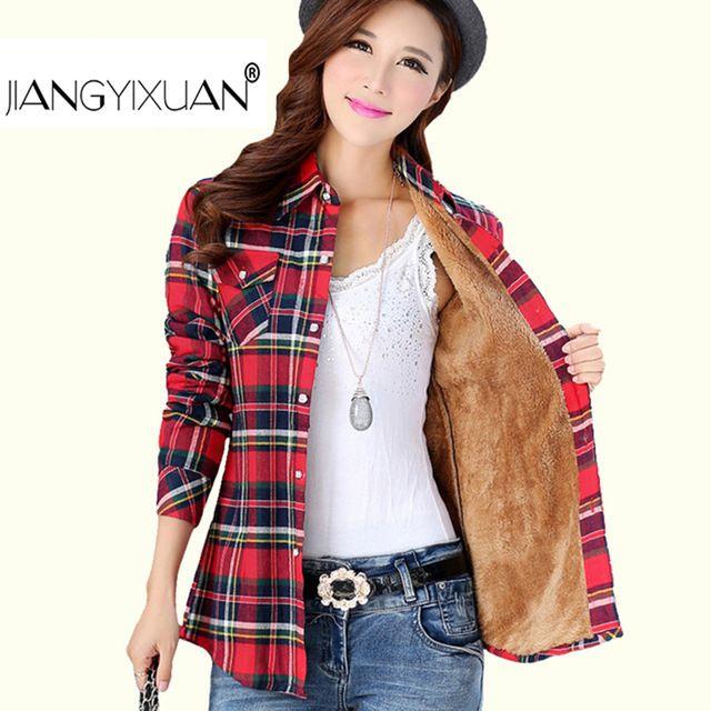 Épais velours Blusas d hiver chemise à carreaux en flanelle de coton à  manches longues femmes blouses féminin chemise femme camisas femenina tops b254d35772b