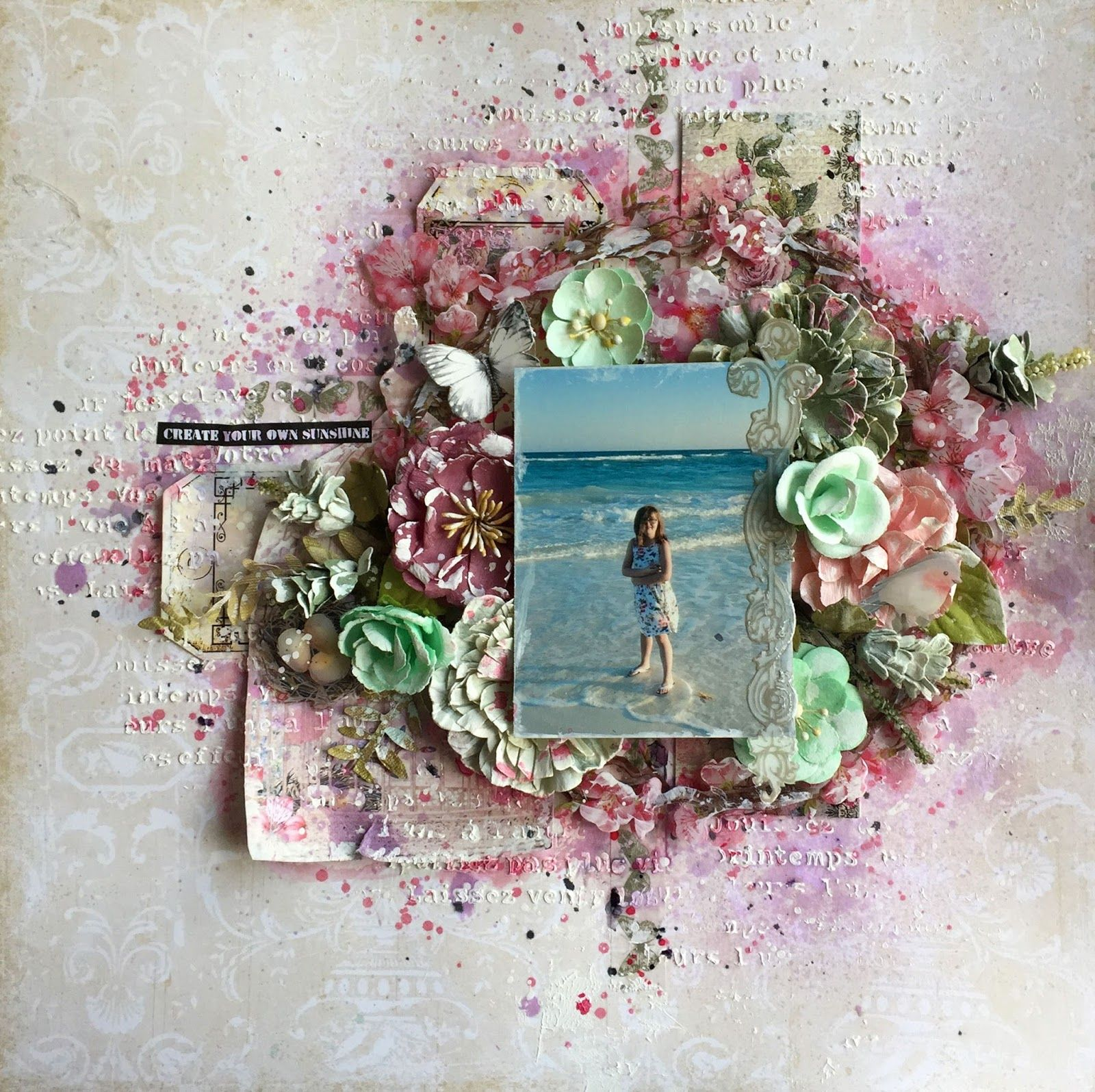 Scraps of Elegance scrapbook kits: mixed media beach layout created w/our April 2017 Kit, by Annie Carignan