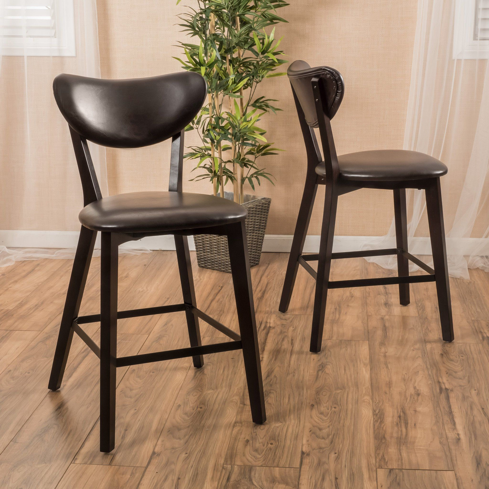 Ad Gicquel Contemporary Brown Leather Counterstool (Set Of 2)