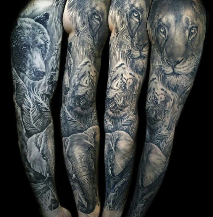 Black And Grey Realistic Full Arm Sleeve Tattoo Of Wild Animals Inspired By David Attenborou Animal Sleeve Tattoo Full Sleeve Tattoos Full Sleeve Tattoo Design