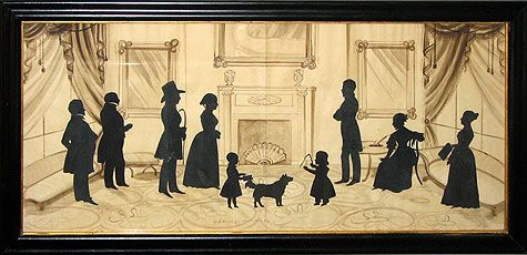"""August Edouart (1789–1861) - The Clark & Andrews Families and a Pet Dog. Circa 1840. 19-1/4"""" x 39""""."""