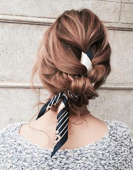 ボリューム編み込みアップのスカーフのヘアアレンジ With Images