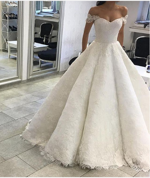 Classic Ball Gown Off Shoulder Sleeves Lace Wedding Dress   Wedding ...
