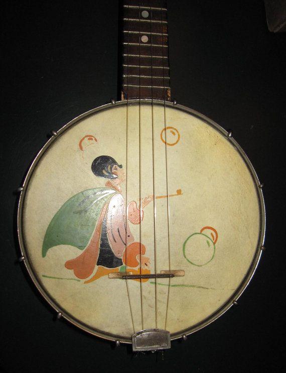 Vintage Banjo Ukulele  With Artwork Ready by CarolinaVintageUkes
