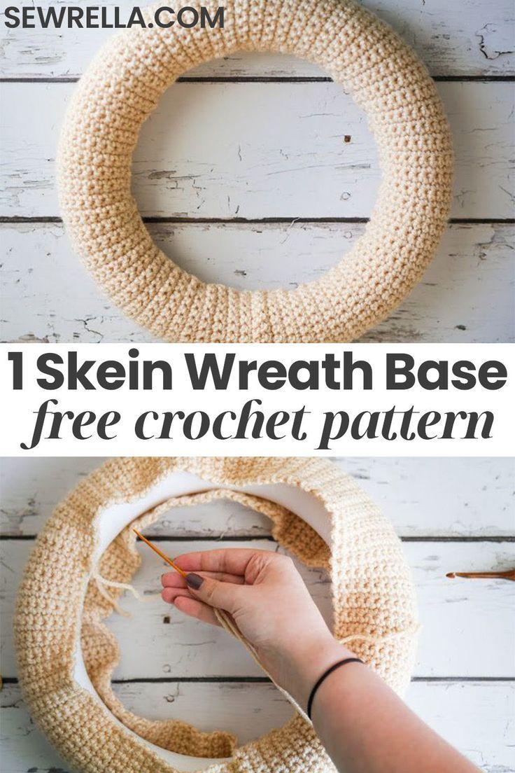 Photo of One Skein Crochet Wreath Base • Sewrella
