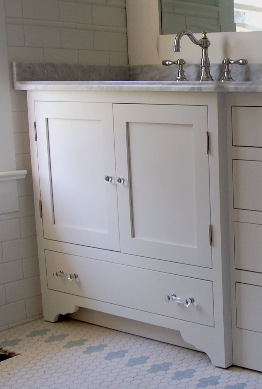 Simple Custom Wood Bathroom Cabinets Features Brown Laminated