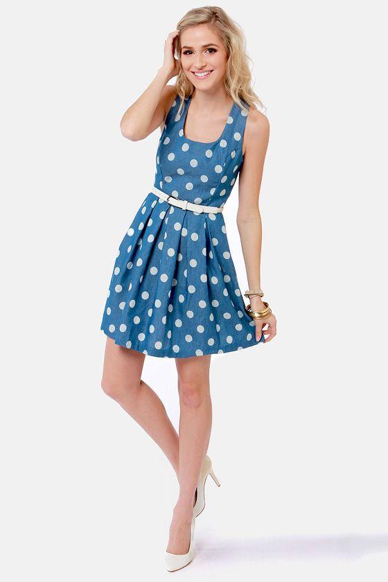 cb9703c82b8 Cute Blue Dress - Polka Dot Dress - Sleeveless Dress -  39.00