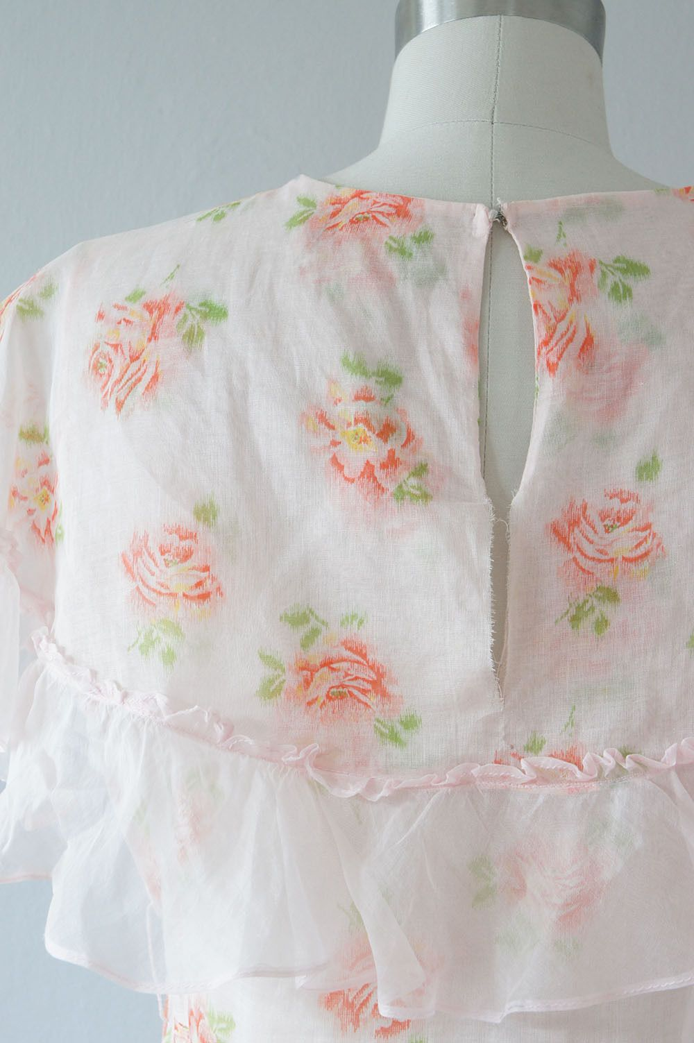 Image result for peach floral cotton organdy embroidered dress
