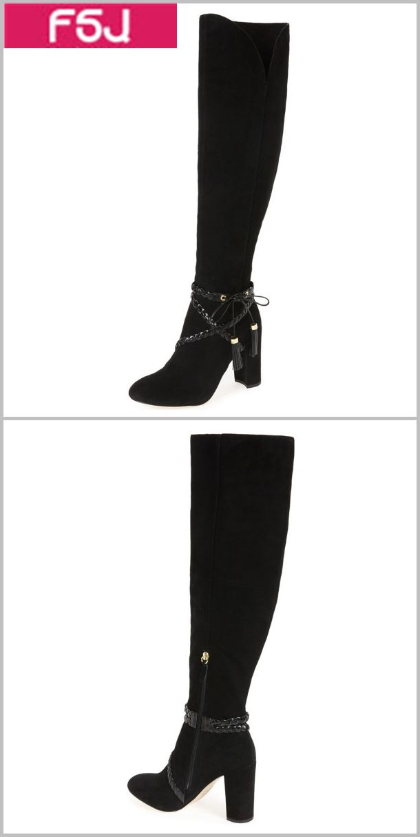 7621ebd3986 Black Chunky Heel Boots Suede Round Toe Tassels Knee-high Boots ...