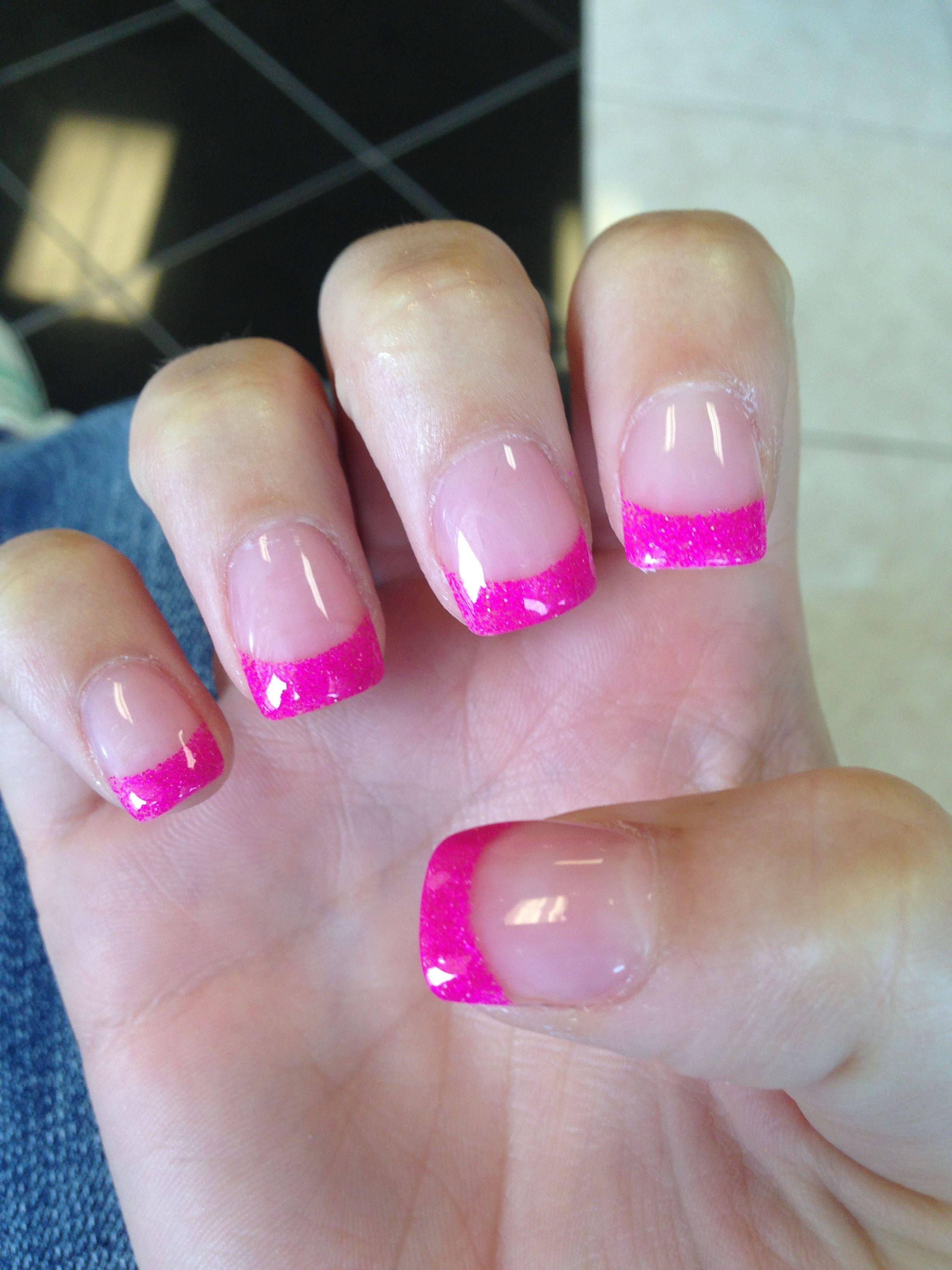 Pin By Tifani Thomas On Lovely Nails Pink French Manicure Pink Tip Nails Glitter French Manicure