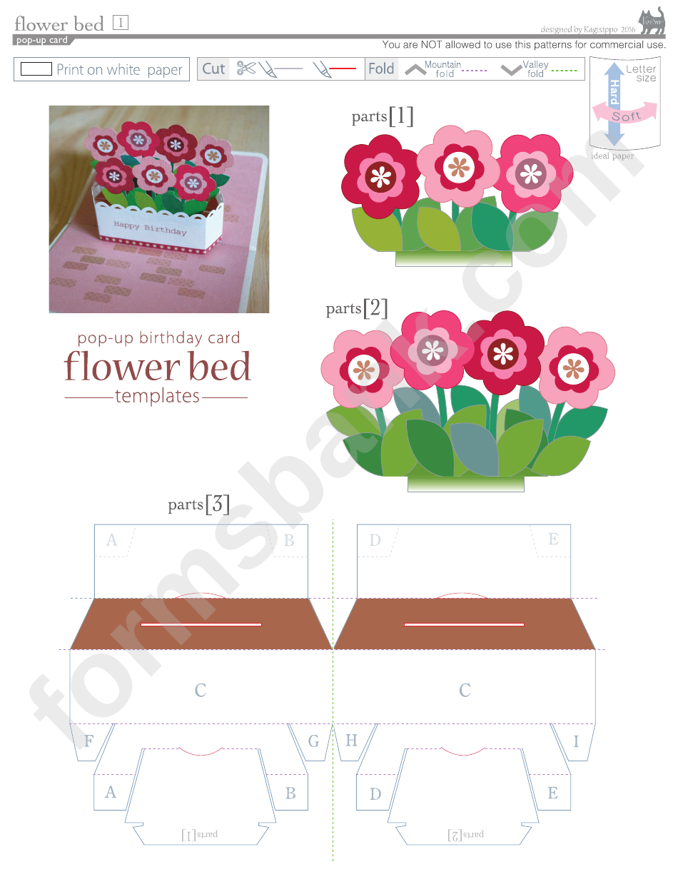 Flower Bed Pop Up Card Template Printable Pdf Download In 2020 Pop Up Card Templates Diy Pop Up Cards Birthday Card Pop Up