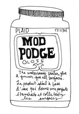 MOD PODGE FORMULAS EXPLAINED.  OK, how have I lived without knowing about this stuff?  Did you know that you can make things glow in the dark with one formula of mod podge.  There is even an outdoor formula, and a hard coat that works well on furniture.  I did not know that.